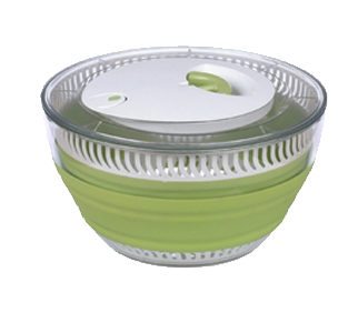 Salad spinners are a great addition to any kitchen but their bulky size can be difficult to store.  With the Progressive Collapsible Salad Spinner you can reclaim your cabinets.  The innovative designed salad spinner folds down to just under 3
